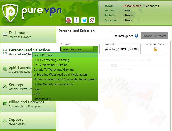 Pure VPN Interface