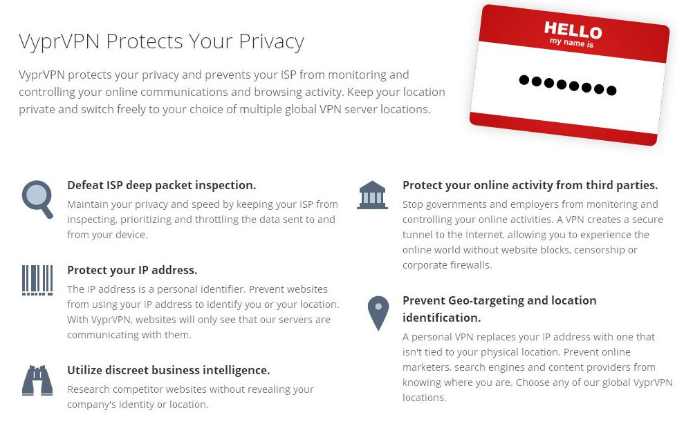 VyprVPN Privacy Features List